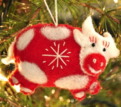 Snowflake Cow Ornament, Red, Fair Trade Product  -