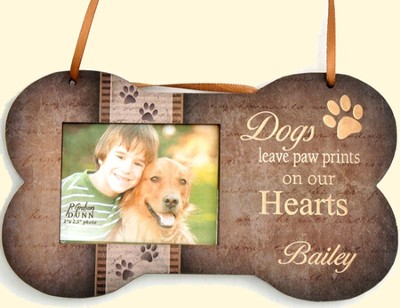 Personalized, Hanging Dog Bone Frame, Dogs Leave Paw Prints On Our Hearts  -