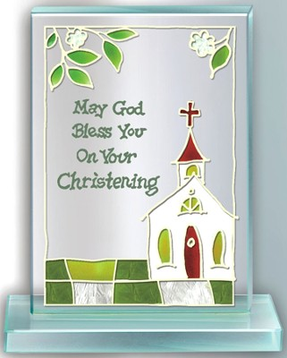 Christening Painted Glass Plaque  -