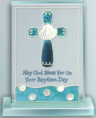 Baptism Painted Glass Plaque  -