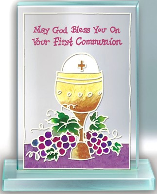 Communion Painted Glass Plaque  -