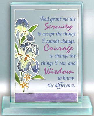 Serenity Prayer Painted Glass Plaque  -