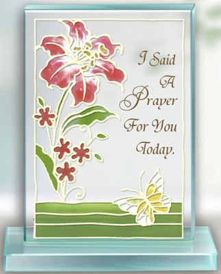 I Said A Prayer Painted Glass Plaque  -
