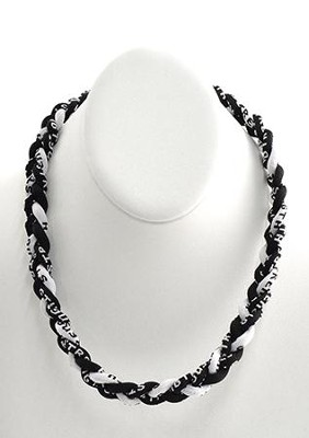 His Armor Titanium Sports Necklace, Black & White    -