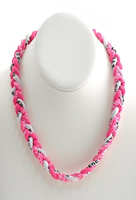 His Armor Titanium Sports Necklace, Pink & White   -