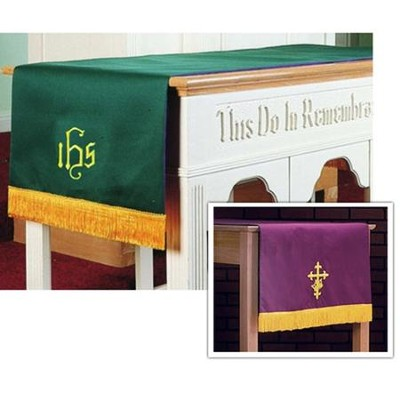 Table Runner with IHS, Purple / Green  -