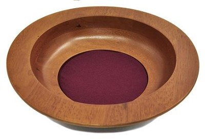 Walnut Finish Maple Wood Offering Plate  -