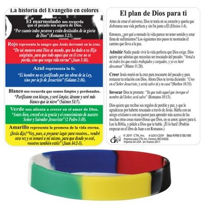 The Gospel Story by Colors Silicone Bracelet with Card, Spanish  -