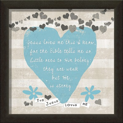 Jesus Loves Me Framed Art, Blue  -