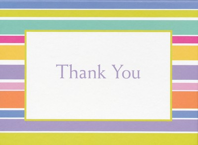 Striped Thank You Notes, Box of 15  -     By: Pat Prather