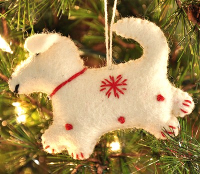 Snowflake Dog Ornament, White, Fair Trade Product  -