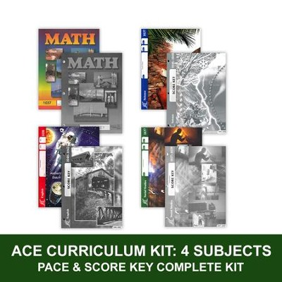 ACE Core Curriculum (4 Subjects), Single Student Complete PACE & Score Key Kit, Grade 4, 3rd Edition (with 4th Edition Science & Social Studies)  -