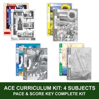 ACE Core Curriculum (4 Subjects), Single Student Complete PACE & Score Key Kit, Grade 7, 3rd Edition (with 4th Edition Math & Social Studies)  -