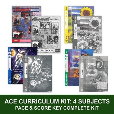 ACE Core Curriculum (4 Subjects), Single Student Complete PACE & Score Key Kit, Grade 8, 3rd Edition (with 4th Edition Math)  -