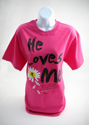 He Loves Me Shirt Pink ,Large  -