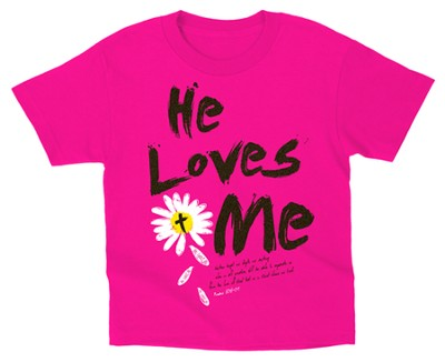 He Loves Me Shirt, Pink, Youth Medium  -