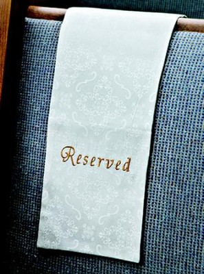 Embroidered Pew Reserve Cloth, White, Set of 4  -