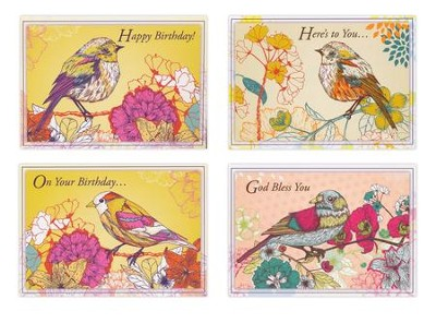Cheerful Tweets, Box of 12 Assorted Birthday Cards  -