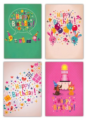 Confetti Fun, Box of 12 Assorted Birthday Cards  -