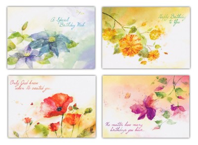 Floral Impressions, Box of 12 Assorted Birthday Cards  -