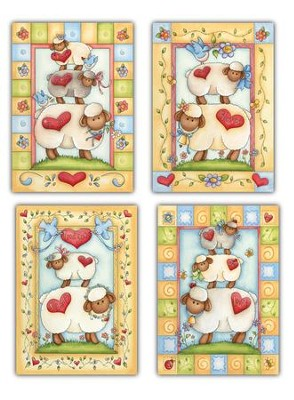 Little Lambs, Box of 12 Assorted Baby Congratulation Cards  -