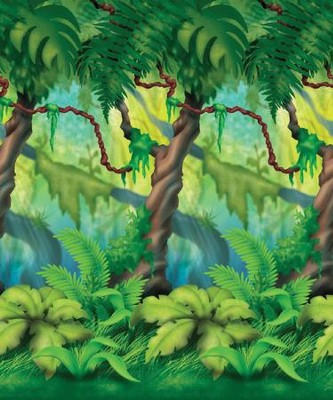 Thailand Trek VBS 2015: Jungle Trees Plastic Backdrop (4' x 30')   -