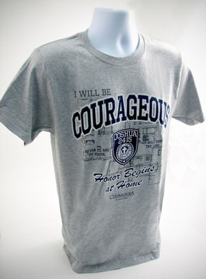 Courageous Shield, Joshua 24:15 Shirt, Gray, Small  -