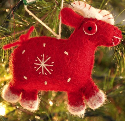 Snowflake Goat Ornament, Red, Fair Trade Product  -