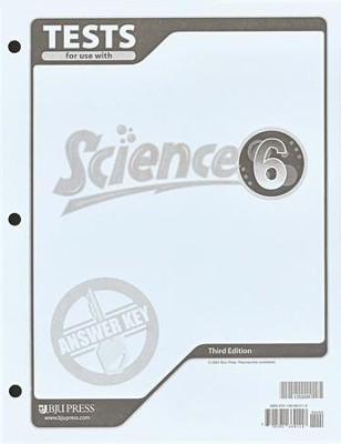 BJU Science Grade 6, Tests Answer Key (Third Edition)    -