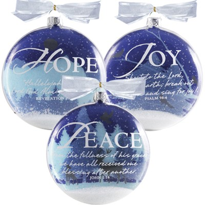 Set Of Three Snowglobe Ornaments  -