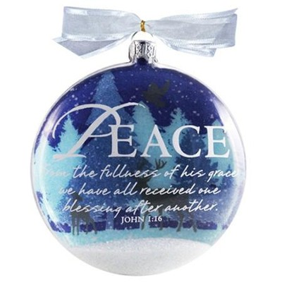 Peace Snow Globe Glass Ornament  -