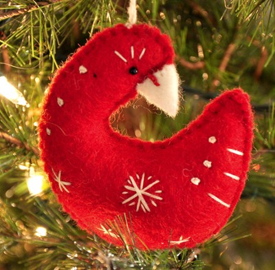 Snowflake Goose Ornament, Red, Fair Trade Product  -