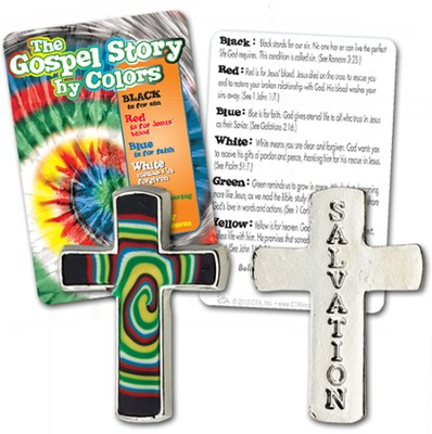 Gospel Colors Pocket Cross with Tie Dye Card, KJV   -