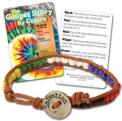 Gospel Colors Bead Bracelet with Tie Dye Card, KJV  -