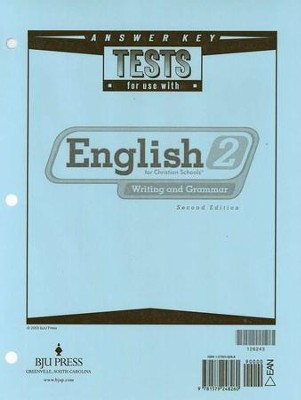 BJU English 2: Writing & Grammar, Tests Answer Key (2nd Edition)    -