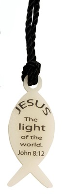 Glow in the Dark Fish Necklace, Jesus is the Light  -