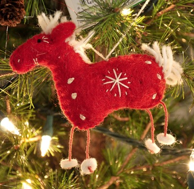 Snowflake Horse Ornament, Red, Fair Trade Product  -