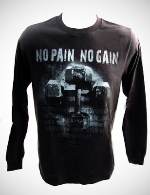 No Pain, No Gain, Black Long-sleeve Tee Shirt, XX-Large (50-52)  -