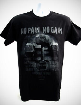 No Pain, No Gain, Black Short-sleeve Tee Shirt, X-Large (46-48)  -