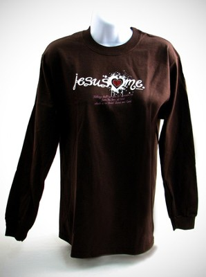Jesus Loves Me (with rhinestone heart), Brown Long-sleeve Tee Shirt , Small (36-38)  -