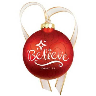Christmas Swirls - Glass Ornament - Believe - Slightly Imperfect  -