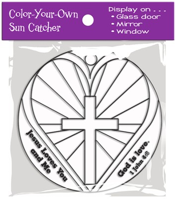 Color-Your-Own Heart Suncatcher Activity 1 John 4:8 (KJV)  -