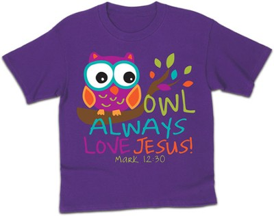 Owl Always Love Jesus Shirt, Purple, Youth Large  -