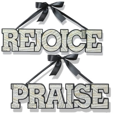 Hanging Word Art Set, Praise & Rejoice  -