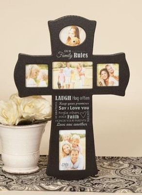 Our Family Rules Photo Cross  -