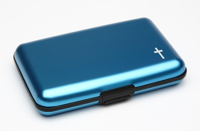 Cash and Credit Card Pocket Case with Ichthus, Blue  -