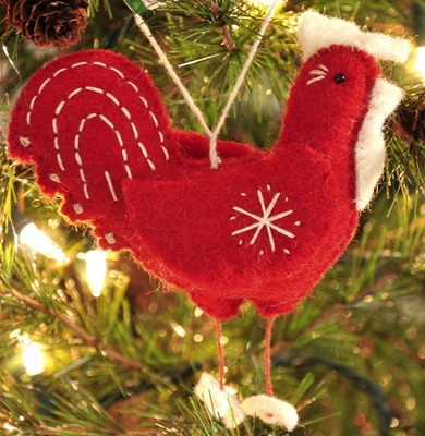 Snowflake Rooster Ornament, Red, Fair Trade Product  -