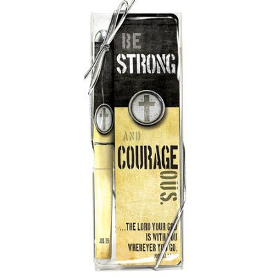 Strong and Courageous Pen and Bookmark Gift Set  -