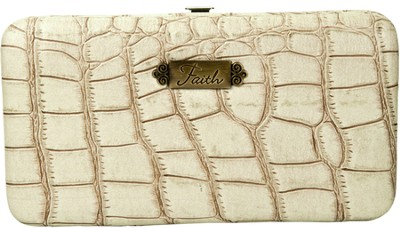 Croc Embossed Clutch Wallet, Faith, Cream   -