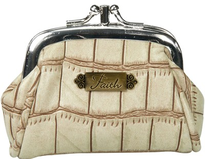 Faith, Croc Embossed Coin Purse, Cream   -